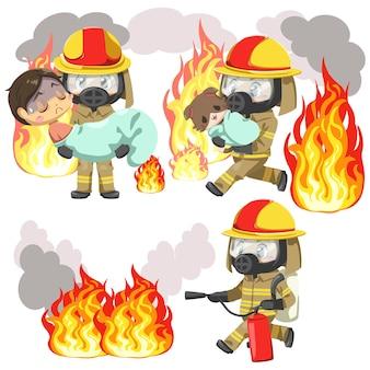 Conjunto de herói usando bombeiro uniformizado e máscara de proteção tóxica para ajudar pessoas e animais