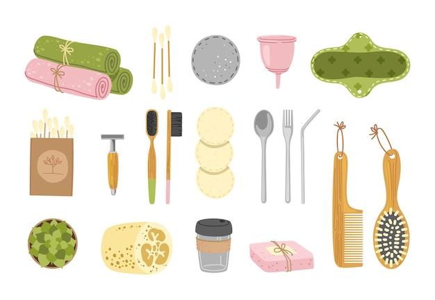 Conjunto de higiene zero resíduos. produtos e ferramentas ecológicos e recicláveis. r