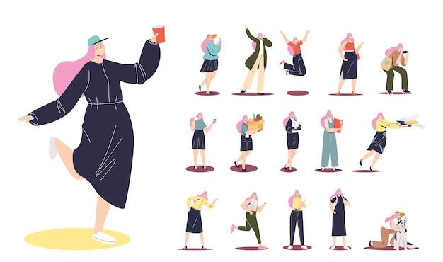 Conjunto de hipster de menina de desenho animado com cabelo rosa, segurando um copo de papel de bebida em situações de estilo de vida de bebida: brincar com o cachorro, festa, fazer foto no smartphone, trabalhar com documentos. ilustração vetorial plana