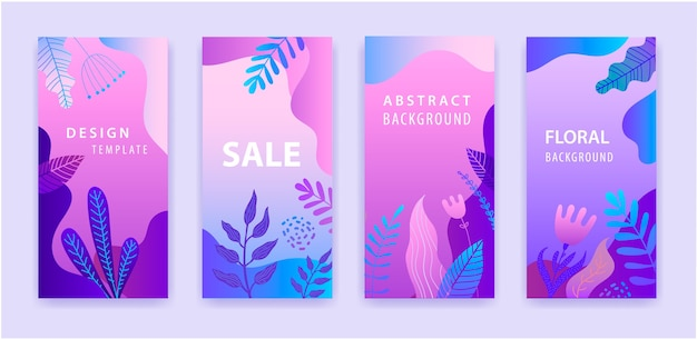Conjunto de história abstrata do instagram para mídia social com fundo vibrante gradiente roxo floral, banner de venda