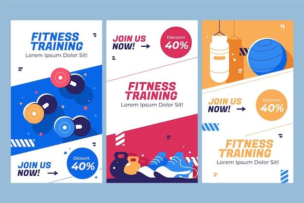 Conjunto de história de fitness plano
