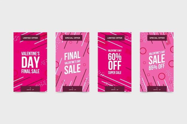 Conjunto de história de venda de dia dos namorados