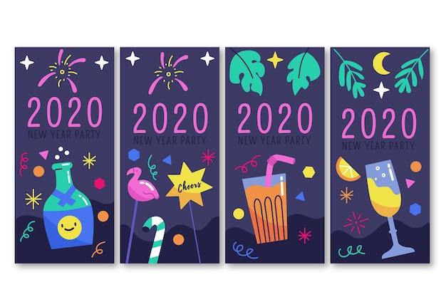 Conjunto de história do instagram de festa de ano novo em 2020