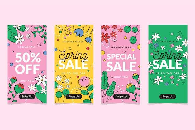 Conjunto de história do instagram de venda de primavera
