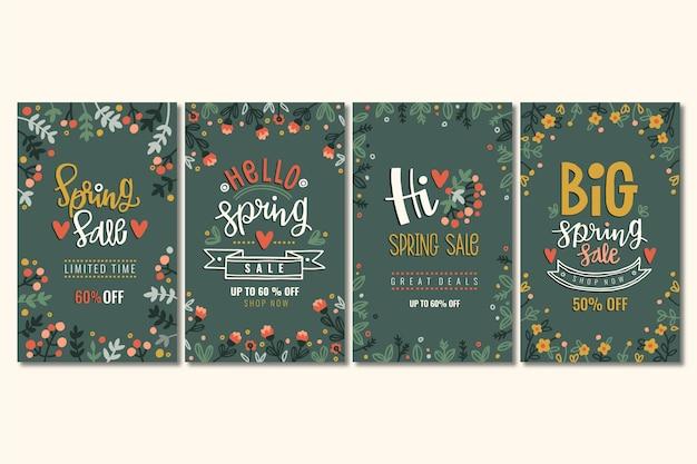 Conjunto de histórias coloridas de venda de primavera