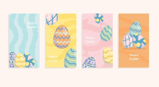 Conjunto de histórias da moda de primavera e fundo de banner de páscoa