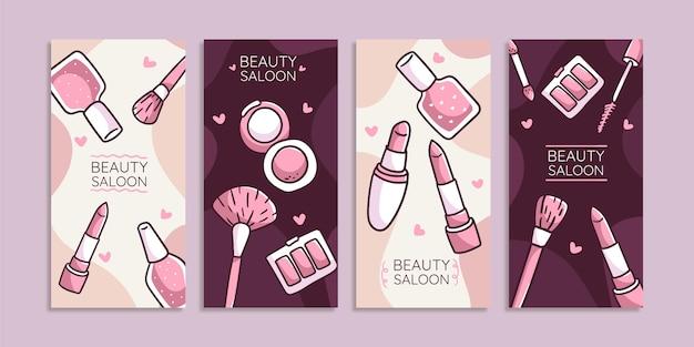 Conjunto de histórias de beleza desenhada à mão