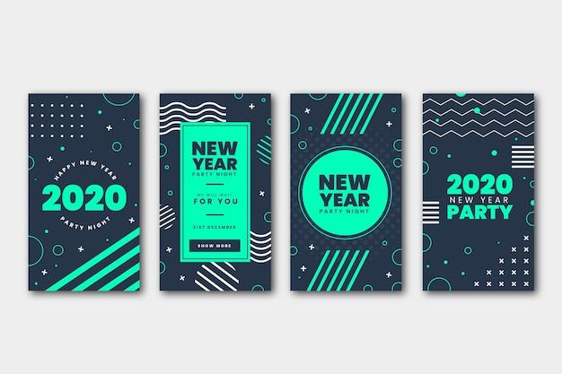 Conjunto de histórias de festa de ano novo do instagram
