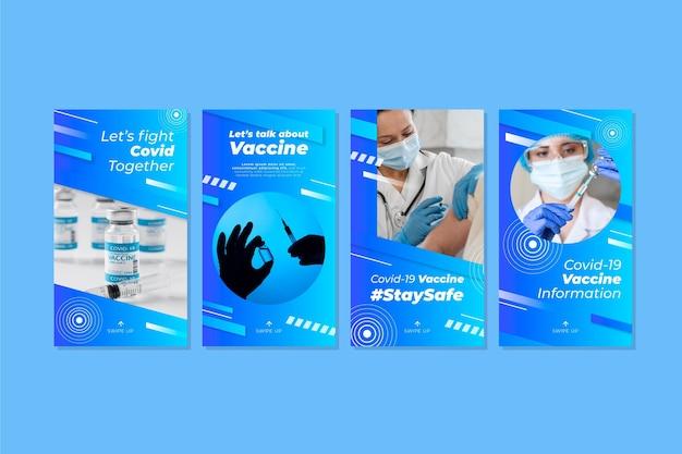 Conjunto de histórias de instagram de vacina de gradiente