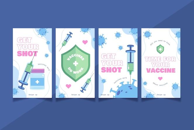 Conjunto de histórias de instagram de vacinação plana