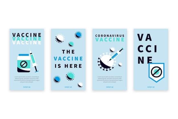 Conjunto de histórias de instagram de vacinas de design plano