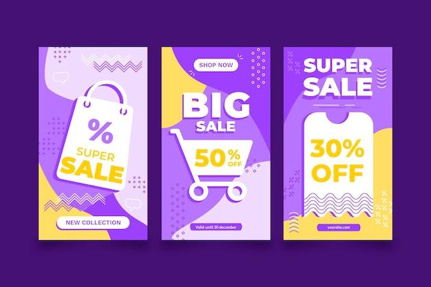 Conjunto de histórias de instagram de venda de design plano
