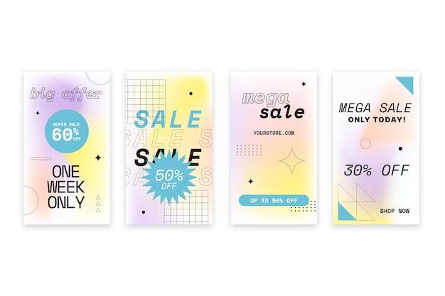 Conjunto de histórias de instagram de venda gradiente