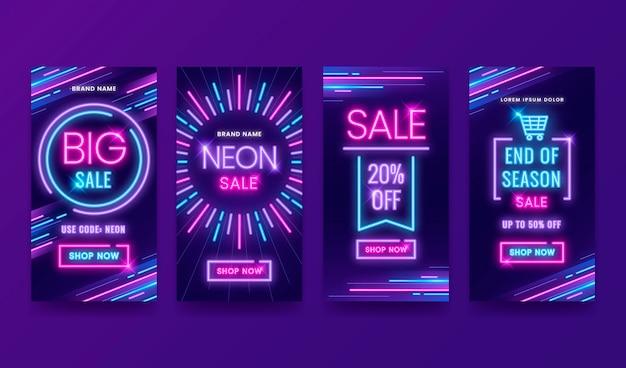 Conjunto de histórias de instagram de vendas em neon brilhante