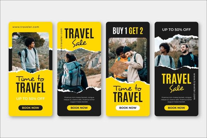 Conjunto de histórias de mídia social de vendas de viagens