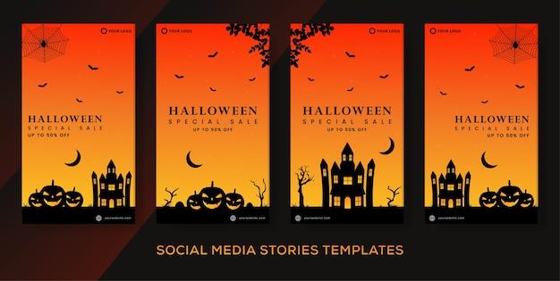 Conjunto de histórias de pacote postar banner para venda de halloween.