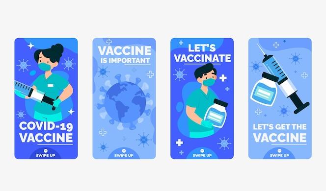 Conjunto de histórias de vacinação no instagram