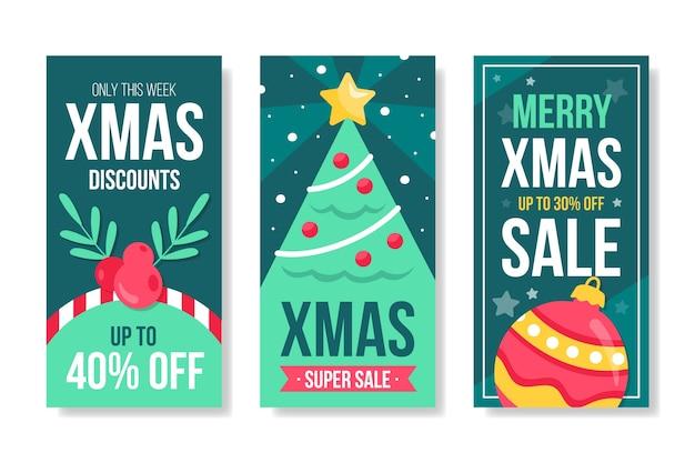 Conjunto de histórias de venda de natal do instagram