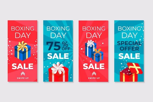 Conjunto de histórias de venda do dia de boxe do instagram
