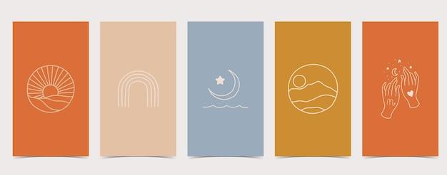 Conjunto de histórias do instagram com desenhos diferentes: sol, arco-íris, lua, mãos