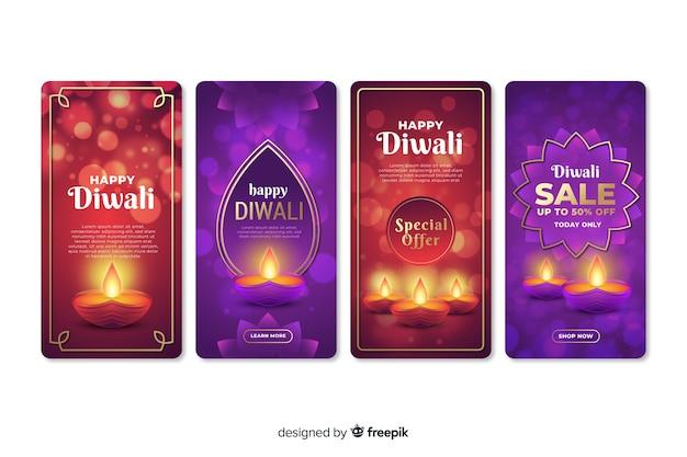 Conjunto de histórias do instagram de diwali