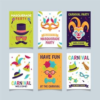 Conjunto de histórias do instagram de festa de carnaval