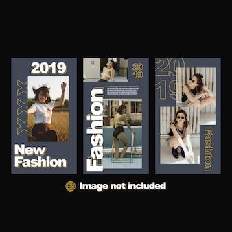 Conjunto de histórias do instagram de moda moderna