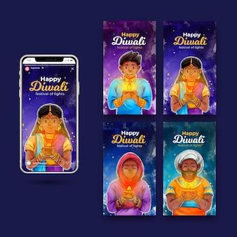 Conjunto de histórias do instagram de promoção de diwali