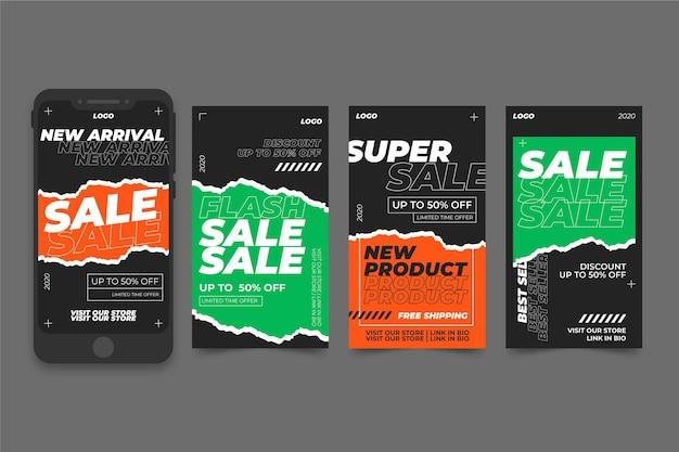 Conjunto de histórias do instagram de venda de ácido