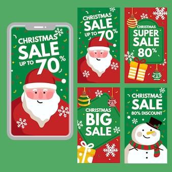 Conjunto de histórias do instagram de venda de natal