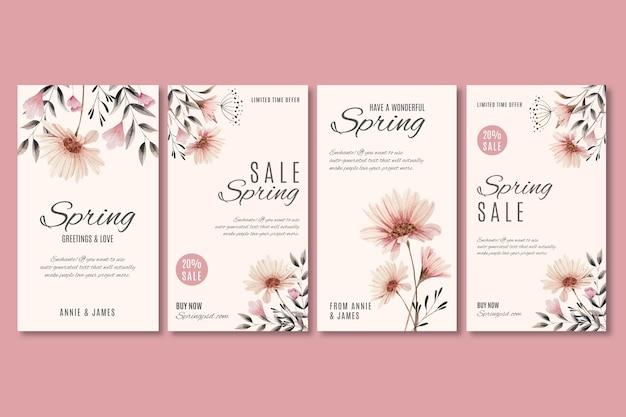 Conjunto de histórias do instagram de venda de primavera em aquarela