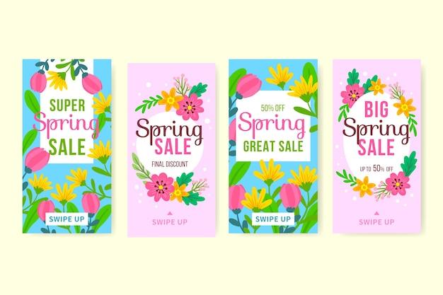 Conjunto de histórias do instagram de venda de primavera