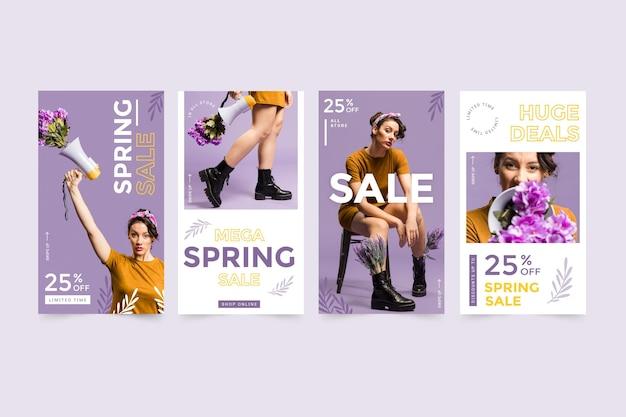 Conjunto de histórias do instagram de venda plana da primavera