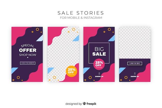 Conjunto de histórias do instagram de vendas