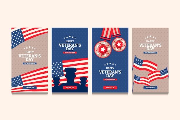 Conjunto de histórias do instagram do dia dos veteranos desenhada à mão