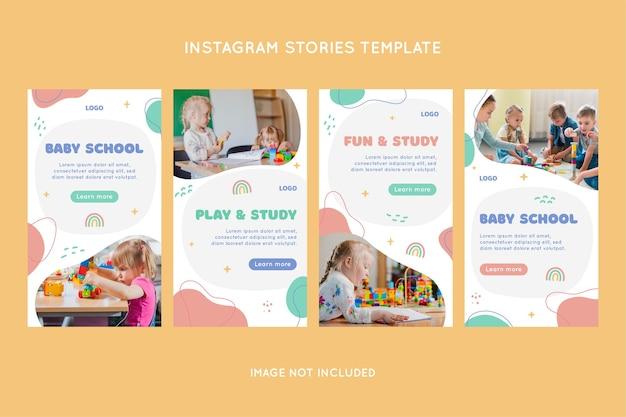 Conjunto de histórias do instagram para o jardim de infância