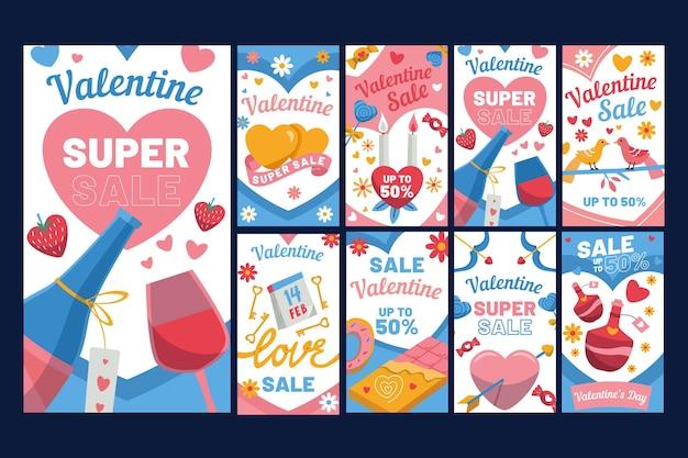 Conjunto de histórias do instagram para promoção do dia dos namorados