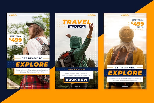 Conjunto de histórias do instagram para venda de viagens