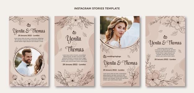 Conjunto de histórias ig de casamento desenhada à mão
