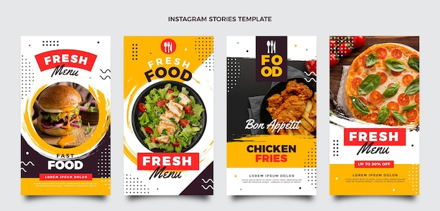 Conjunto de histórias ig de comida de design plano