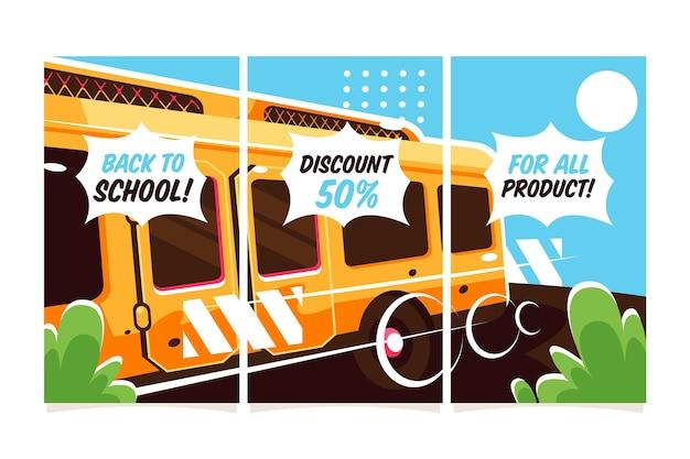 Conjunto de histórias instagram de design plano de volta às aulas