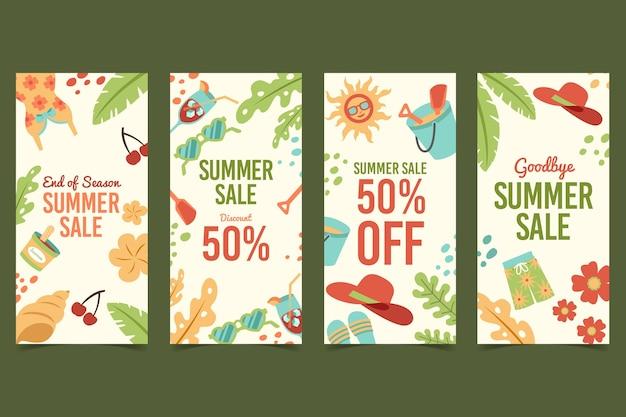 Conjunto de histórias instagram de liquidação de verão no fim da temporada