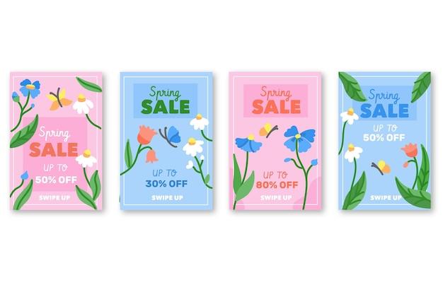 Conjunto de histórias instagram de promoções de primavera