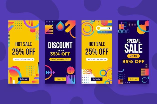 Conjunto de histórias instagram de venda de design plano