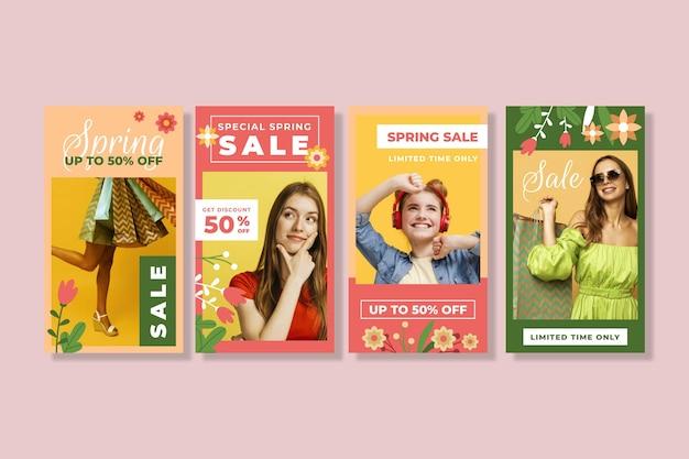 Conjunto de histórias instagram de venda de primavera em design plano