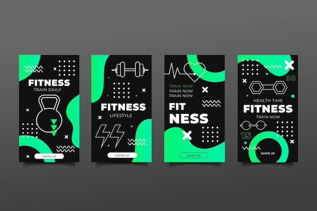 Conjunto de histórias simples de saúde e fitness