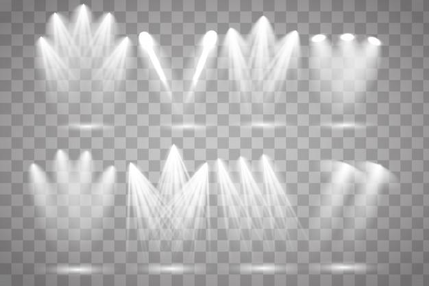 Conjunto de holofotes branco brilha no palco, cena, pódio.