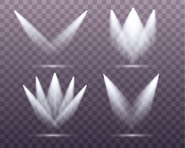 Conjunto de holofotes brancos brilha no palco, cena, pódio. efeito de luz de flash de lente de uso exclusivo de uma lâmpada ou holofote.