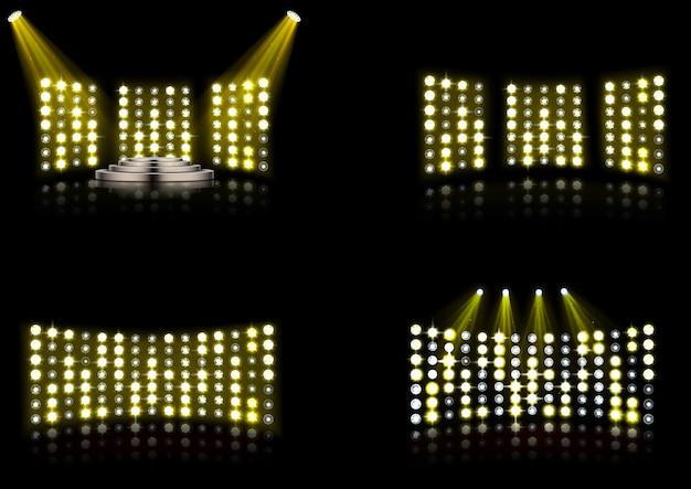 Conjunto de holofotes de iluminação brilhante estádio arena
