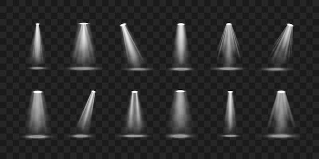 Conjunto de holofotes de vetor luz de uma lâmpada ou holofote